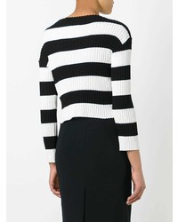 Pull à col rond à rayures horizontales noir et blanc Boutique Moschino