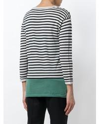 Pull à col rond à rayures horizontales noir et blanc Aspesi