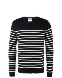 Pull à col rond à rayures horizontales noir et blanc Valentino