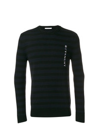 Pull à col rond à rayures horizontales noir Givenchy