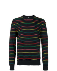 Pull à col rond à rayures horizontales noir Ps By Paul Smith