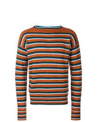 Pull à col rond à rayures horizontales orange