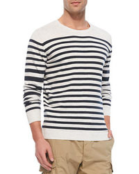 Pull a col rond a rayures horizontales original 405740
