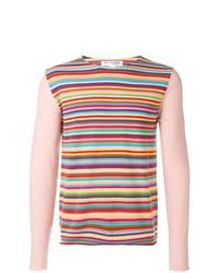Pull à col rond à rayures horizontales rose Comme Des Garçons Shirt Boys