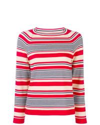 Pull à col rond à rayures horizontales rouge et blanc A.P.C.
