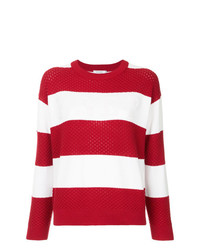 Pull à col rond à rayures horizontales rouge et blanc GUILD PRIME