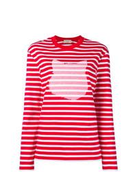 Pull à col rond à rayures horizontales rouge et blanc MAISON KITSUNE