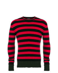 Pull à col rond à rayures horizontales rouge et noir
