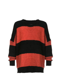 Pull à col rond à rayures horizontales rouge et noir Amiri
