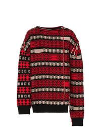 Pull à col rond à rayures horizontales rouge et noir Calvin Klein 205W39nyc