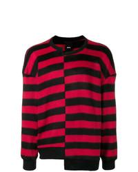 Pull à col rond à rayures horizontales rouge et noir D.GNAK