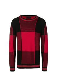 Pull à col rond à rayures horizontales rouge et noir Diesel Black Gold