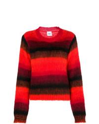 Pull à col rond à rayures horizontales rouge et noir Dondup