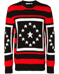 Pull à col rond à rayures horizontales rouge et noir Givenchy