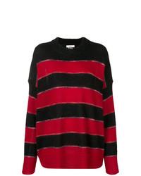 Pull à col rond à rayures horizontales rouge et noir Isabel Marant Etoile