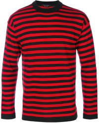 Pull à col rond à rayures horizontales rouge et noir Marc Jacobs