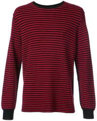 Pull à col rond à rayures horizontales rouge et noir Ovadia & Sons