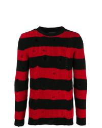 Pull à col rond à rayures horizontales rouge et noir Overcome