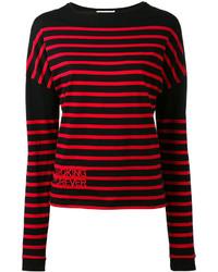 Pull à col rond à rayures horizontales rouge et noir Saint Laurent