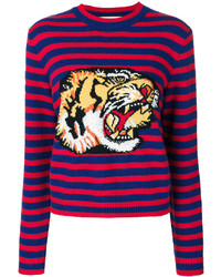 Pull à col rond à rayures horizontales rouge Gucci