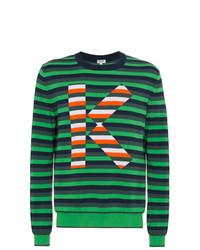 Pull à col rond à rayures horizontales vert foncé Kenzo