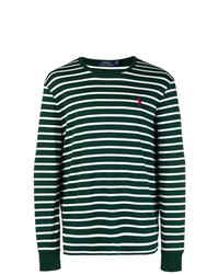 Pull à col rond à rayures horizontales vert foncé Polo Ralph Lauren