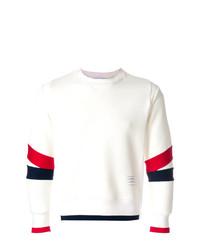 Pull à col rond blanc et rouge et bleu marine Thom Browne