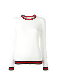 Pull à col rond blanc et rouge Gucci