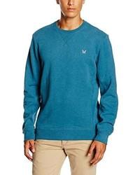 Pull à col rond bleu canard Crew Clothing