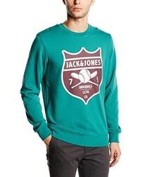 Pull à col rond bleu canard Jack & Jones