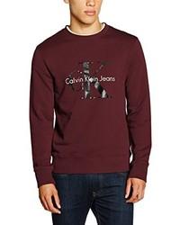 Pull à col rond bordeaux Calvin Klein Jeans