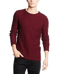 Pull à col rond bordeaux Solid