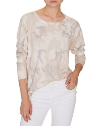 Pull à col rond camouflage beige