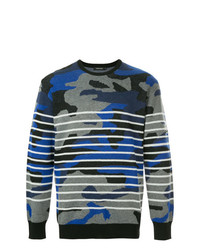 Pull à col rond camouflage bleu marine Loveless