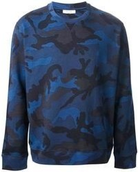 Pull à col rond camouflage bleu marine Valentino