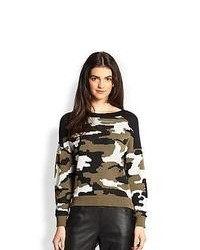 Pull à col rond camouflage olive