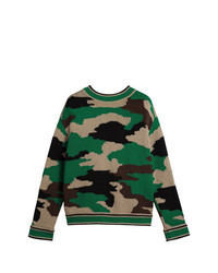 Pull à col rond camouflage vert
