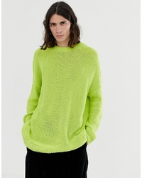 Pull à col rond chartreuse ASOS DESIGN