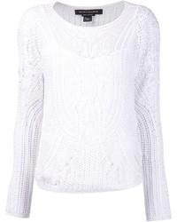 Pull à col rond en crochet blanc Ralph Lauren