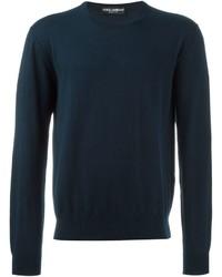 Pull à col rond en tricot bleu marine