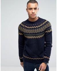 Pull à col rond en tricot bleu marine Esprit