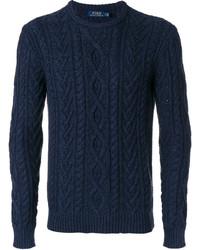Pull à col rond en tricot bleu marine Polo Ralph Lauren