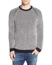 Pull à col rond en tricot noir et blanc