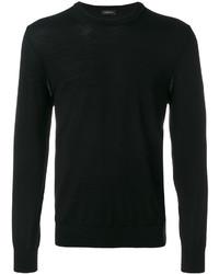 Pull à col rond en tricot noir Ermenegildo Zegna