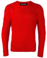 Pull à col rond en tricot rouge Neil Barrett