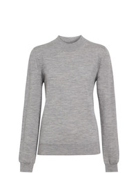 Pull à col rond gris Burberry