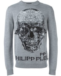 Pull à col rond gris Philipp Plein