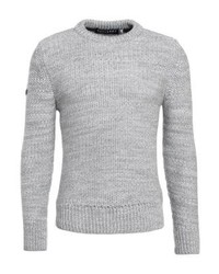 Pull à col rond gris Superdry