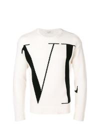 Pull à col rond imprimé blanc et noir Valentino
