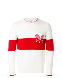 Pull à col rond imprimé blanc et rouge Thom Browne